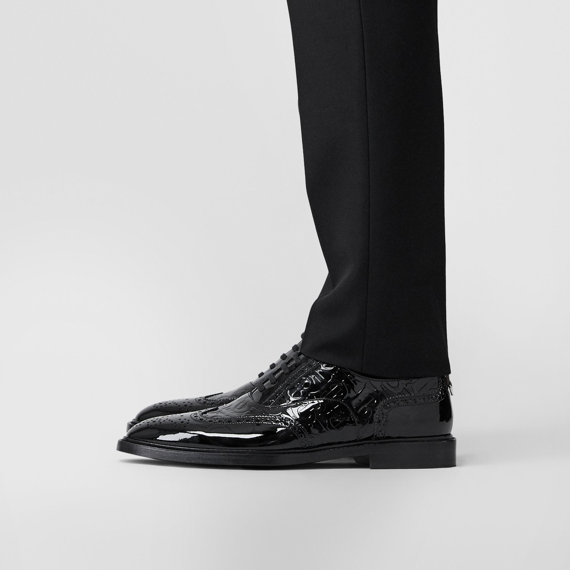 D-ring Detail Monogram Patent Leather Brogues in Black - Men | Burberry - gallery image 2