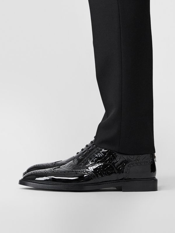 D-ring Detail Monogram Patent Leather Brogues in Black - Men | Burberry Canada - cell image 2
