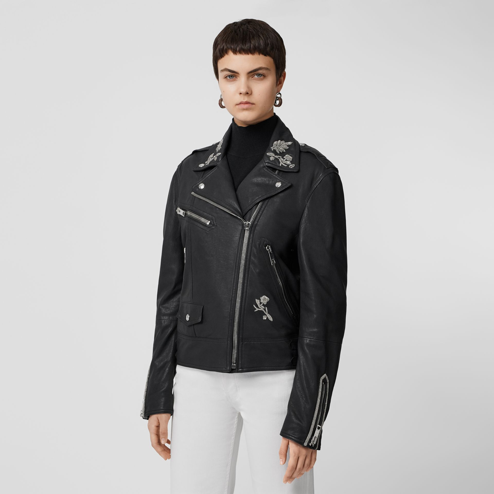 Bullion Floral Lambskin Biker Jacket in Black - Women | Burberry Singapore - gallery image 5
