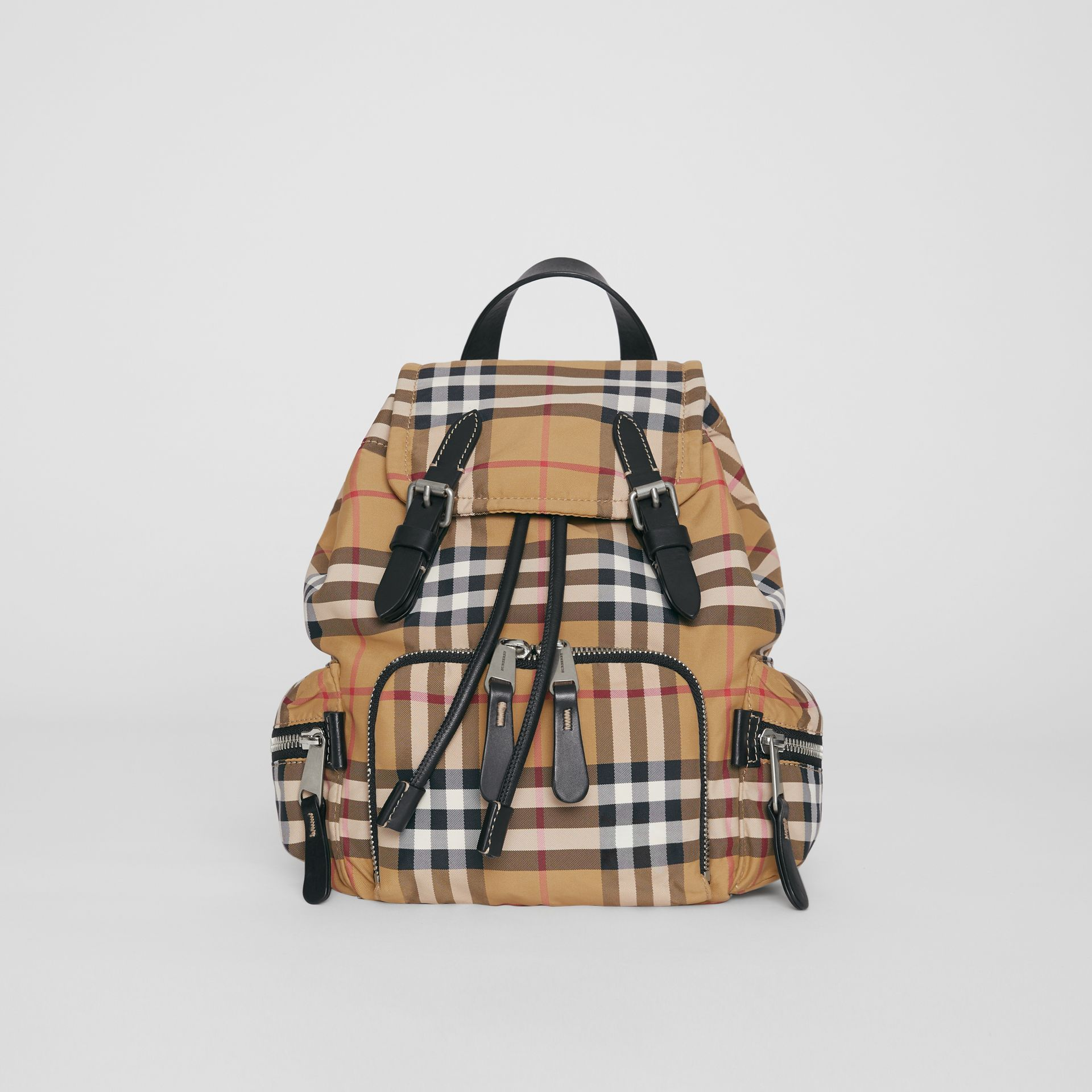 The Small Crossbody Rucksack in Vintage Check in Antique Yellow - Women | Burberry Singapore - gallery image 0