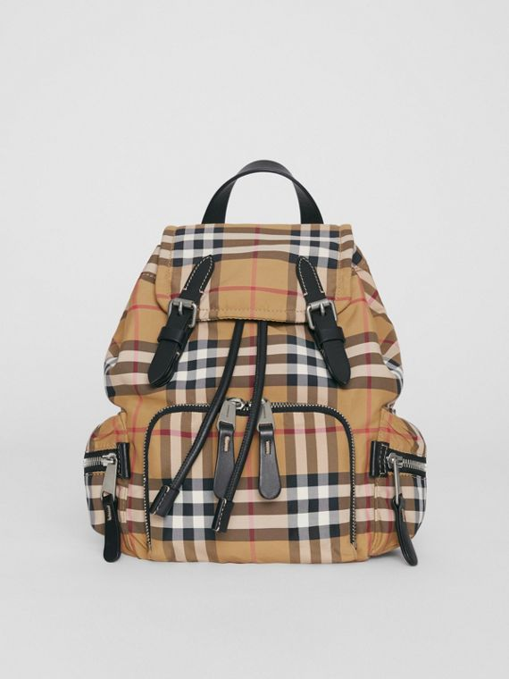 The Small Crossbody Rucksack in Vintage Check in Antique Yellow