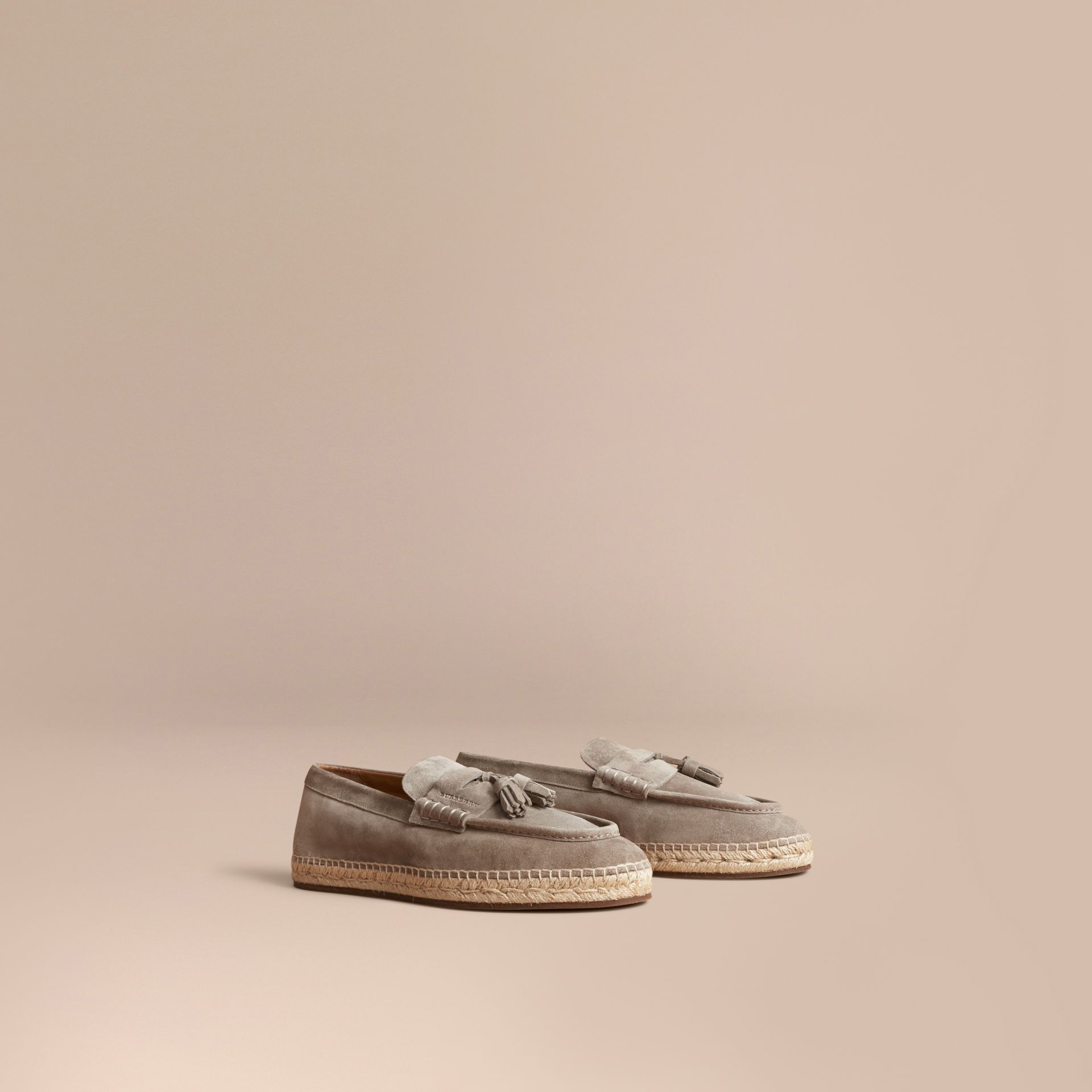 Tasselled Suede Espadrille Loafers in Light Taupe Brown - gallery image 1