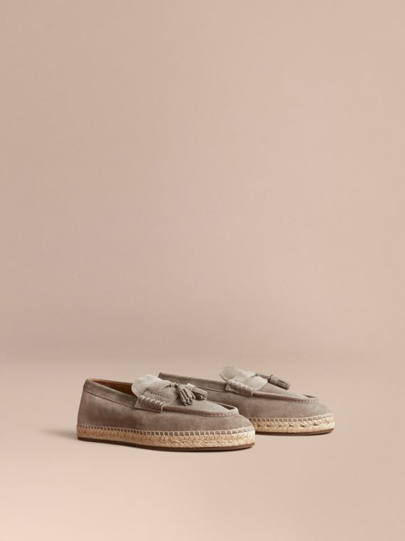 Tasselled Suede Espadrille Loafers Light Taupe Brown
