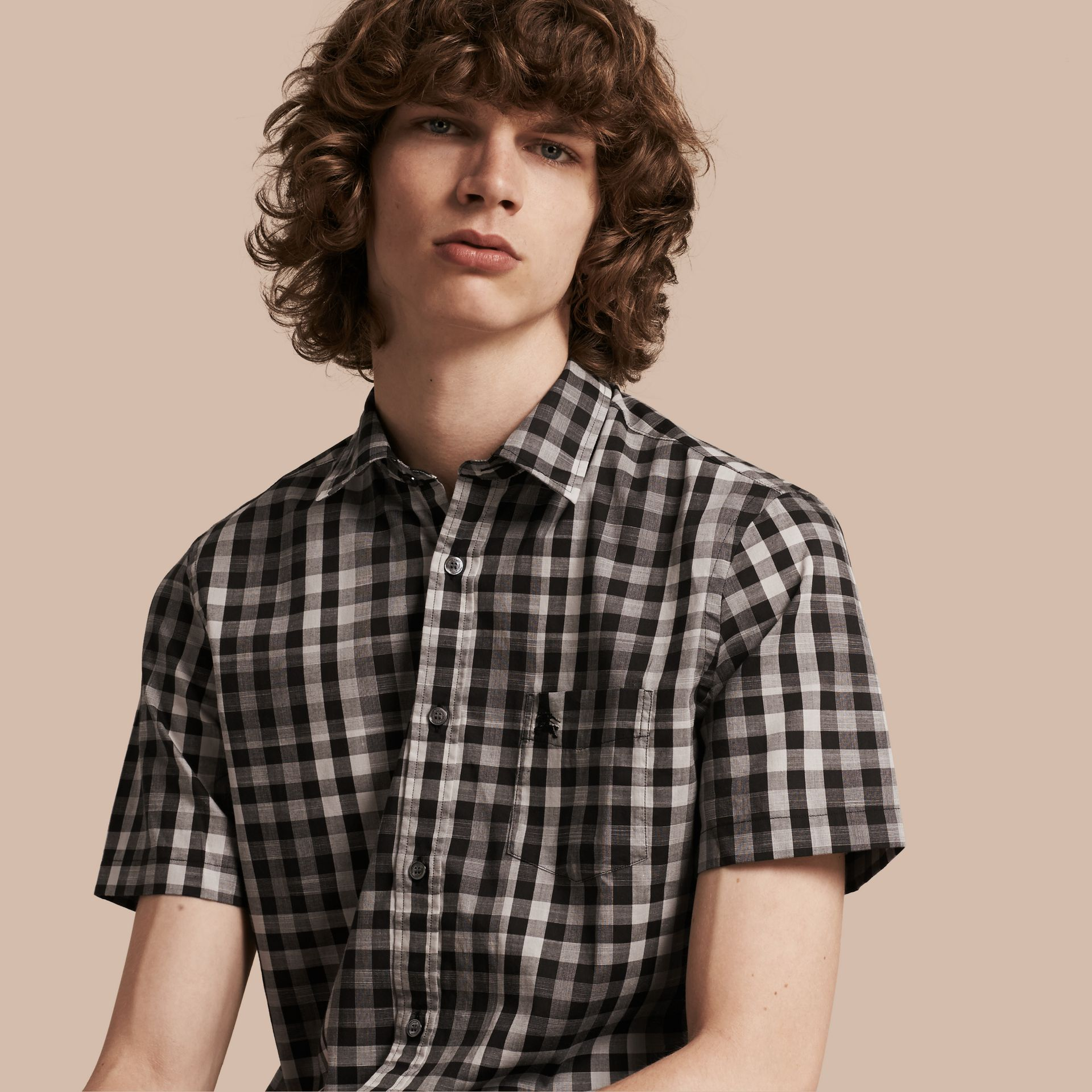Black Short-sleeved Gingham Cotton Shirt Black - gallery image 1