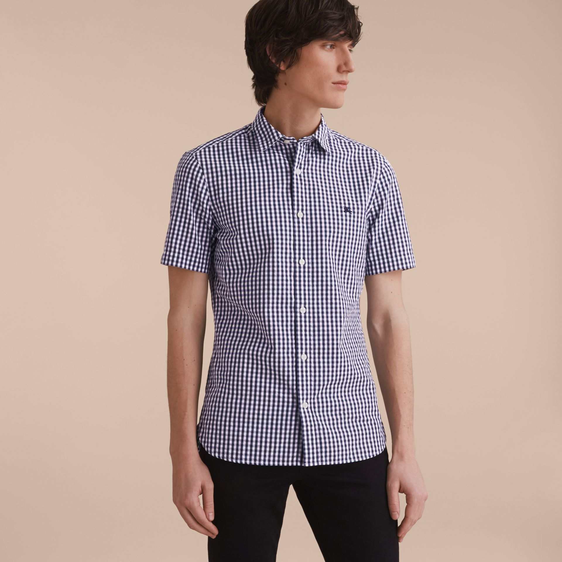 Short-sleeved Gingham Cotton Poplin Shirt in Ink Blue - Men | Burberry - gallery image 6