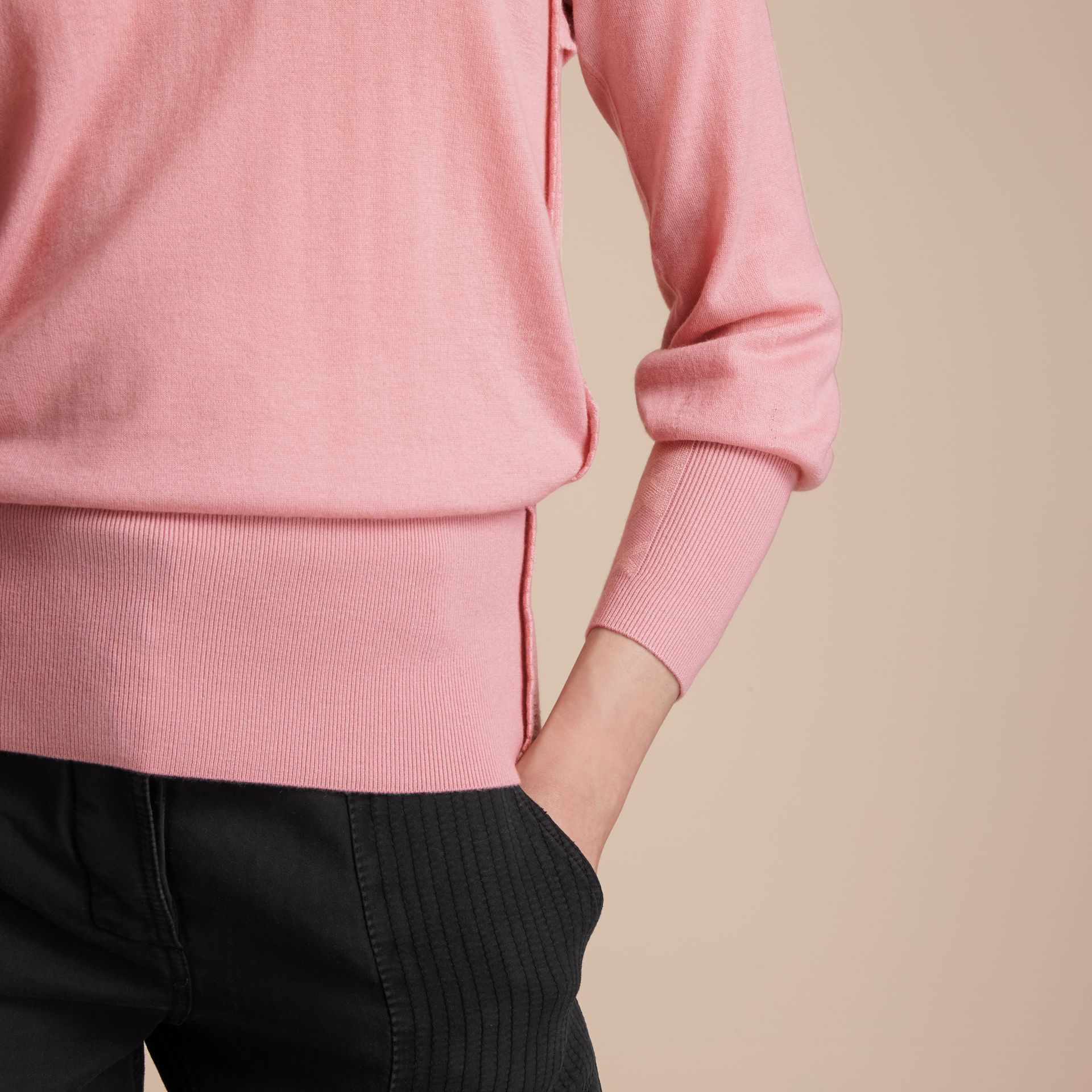 Open-knit Detail Cashmere Crew Neck Sweater in Apricot Pink - Women | Burberry - gallery image 5