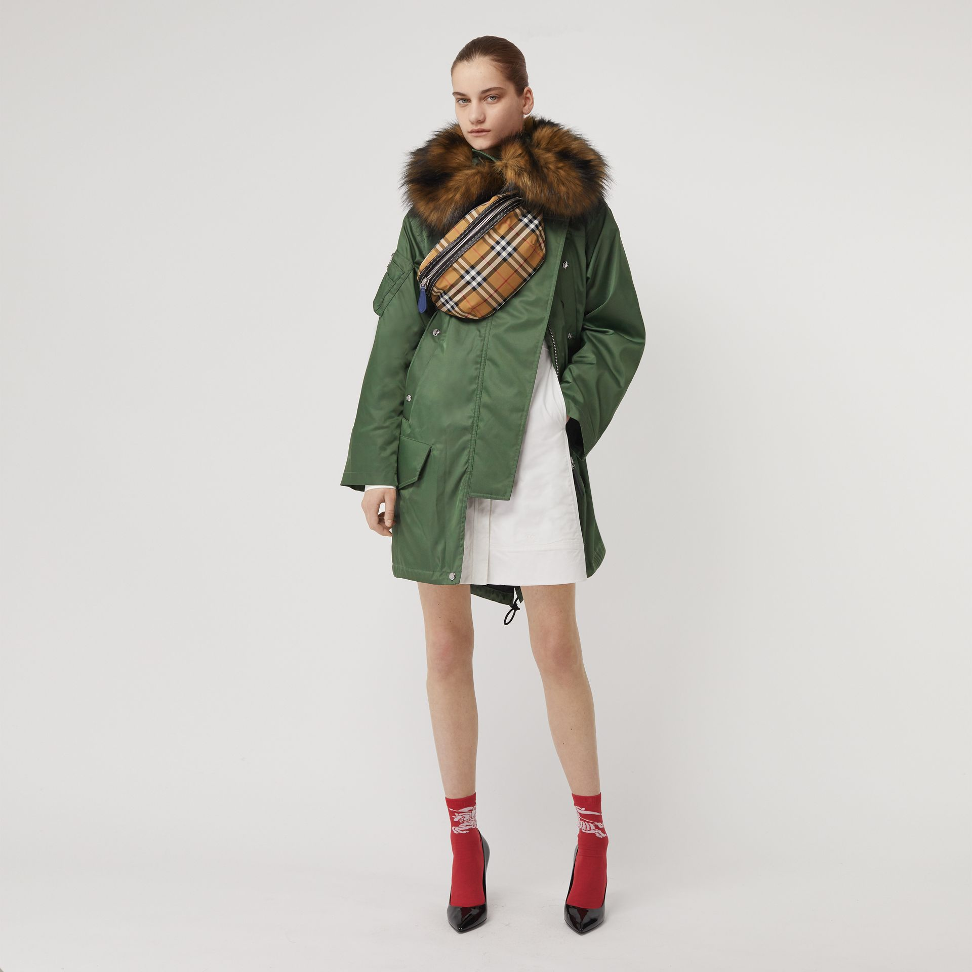 Faux Fur Trim Parka with Detachable Warmer in Grass Green - Women | Burberry - gallery image 0