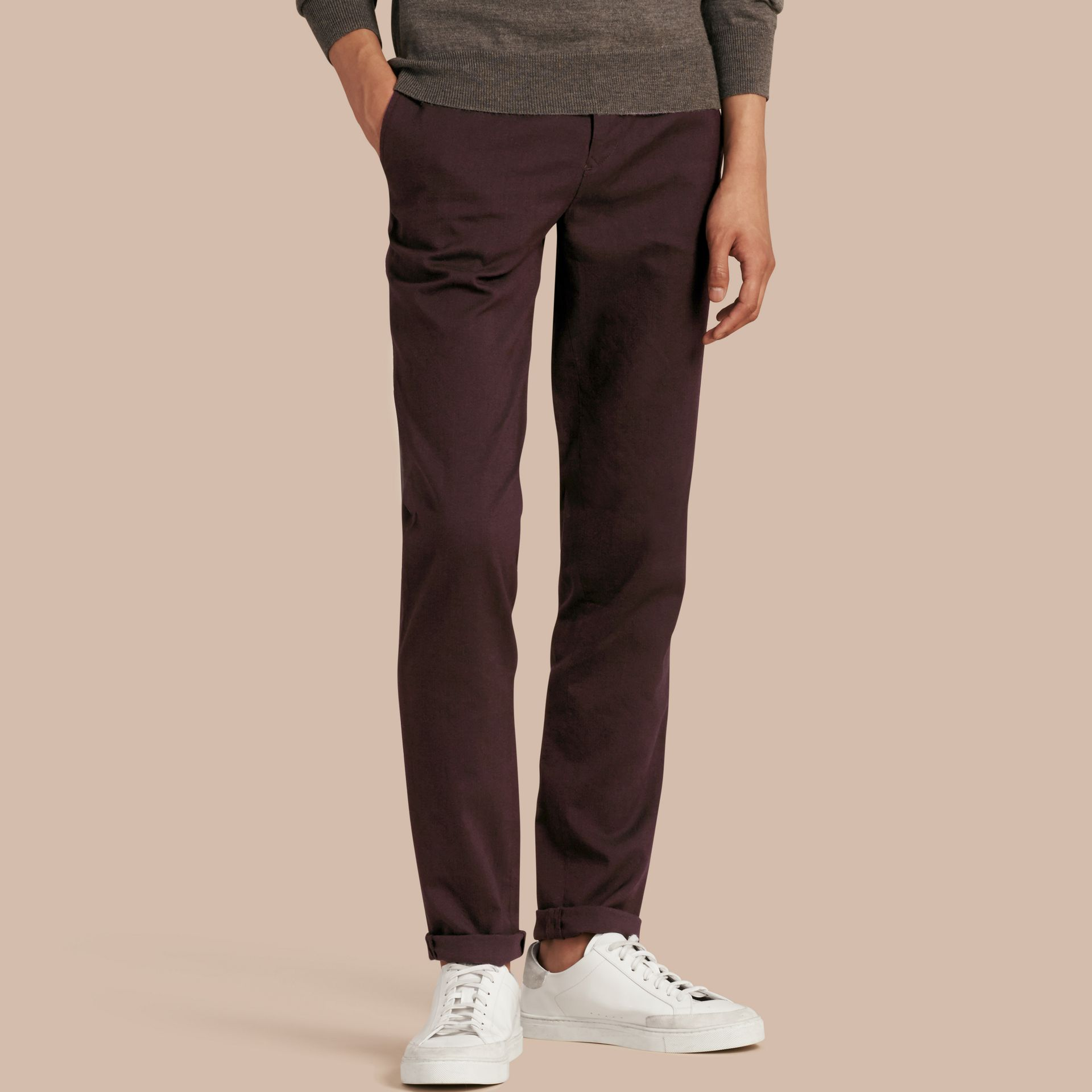 Deep claret Tailored Cotton Wool Blend Trousers - gallery image 1