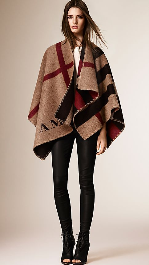 House check/black Check Wool and Cashmere Blanket Poncho - Image 5
