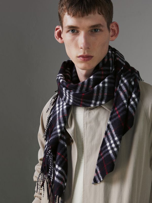The Burberry Bandana in Check Cashmere in Navy | Burberry Singapore - cell image 3