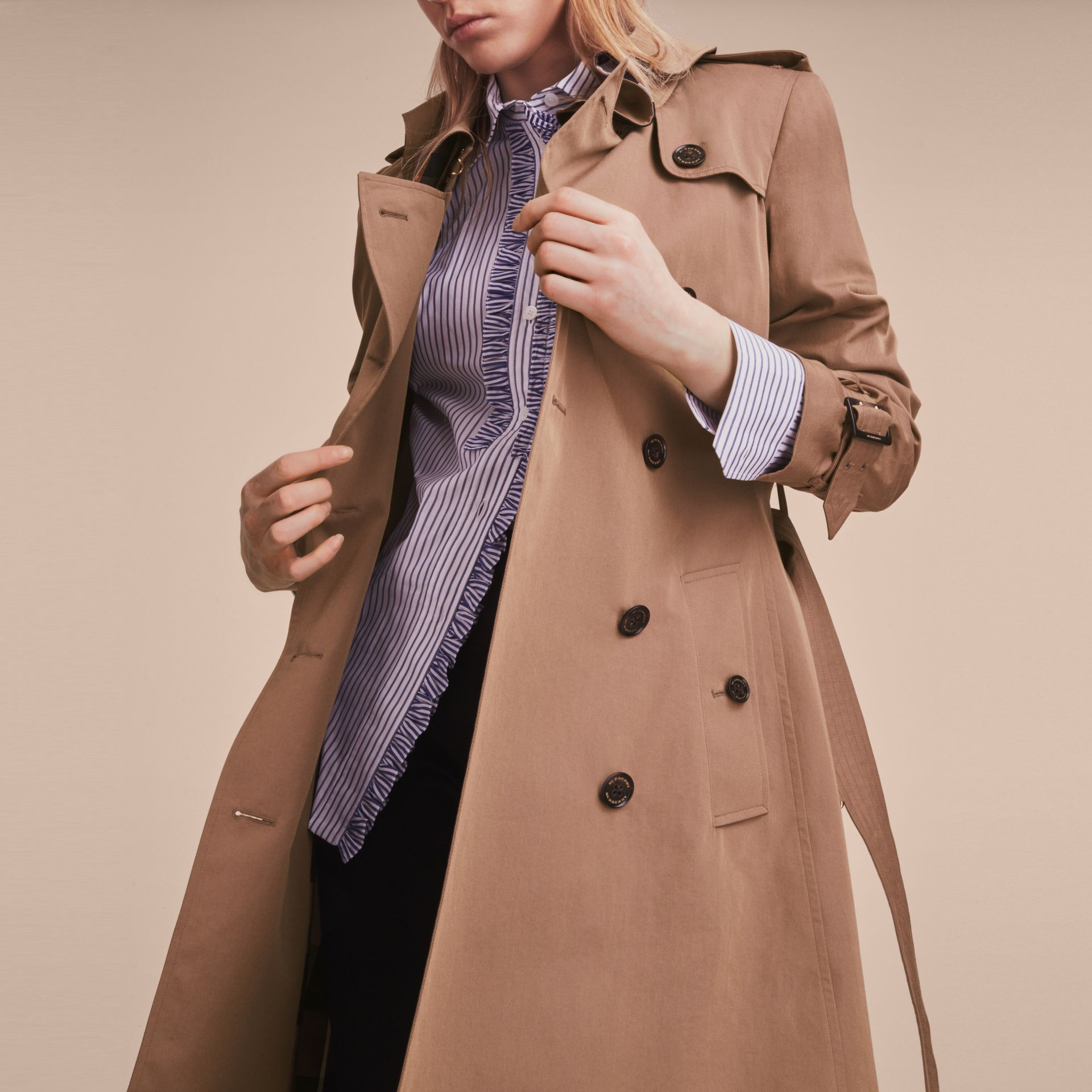 Tropical Gabardine Trench Coat with Ruffle Detail Taupe - gallery image 6