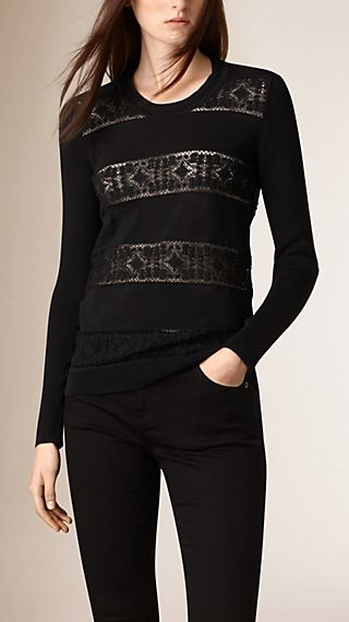 English Lace Detail Cotton Crew Neck Sweater
