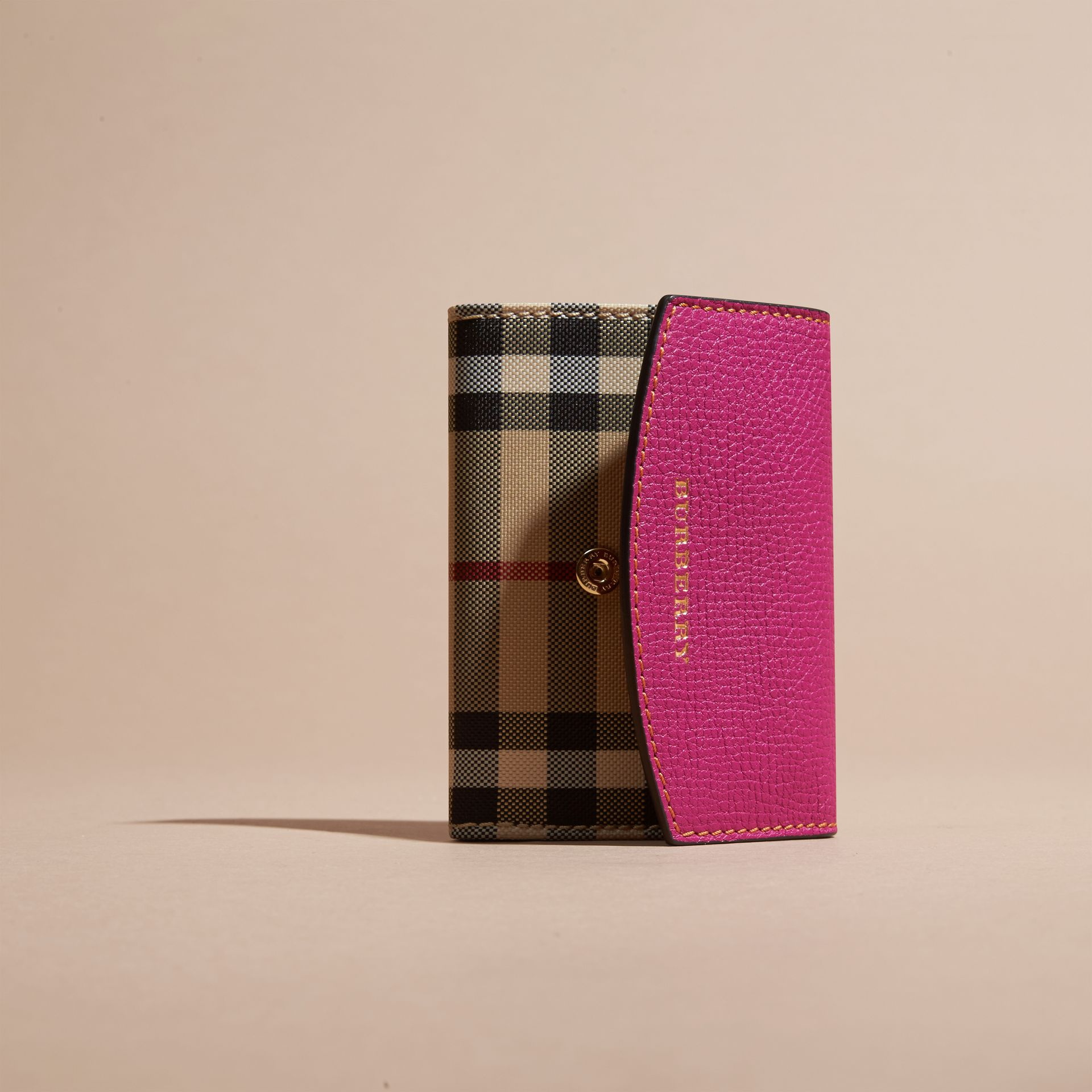 Brilliant fuchsia Horseferry Check and Leather Card Case Brilliant Fuchsia - gallery image 3