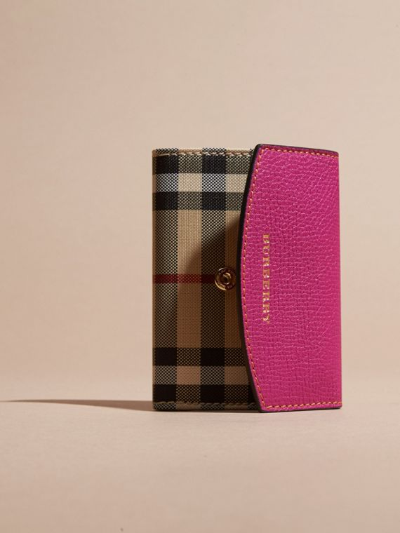 Brilliant fuchsia Horseferry Check and Leather Card Case Brilliant Fuchsia - cell image 2