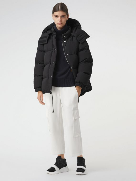 Detachable Hood and Sleeve Down-filled Puffer Jacket in Black