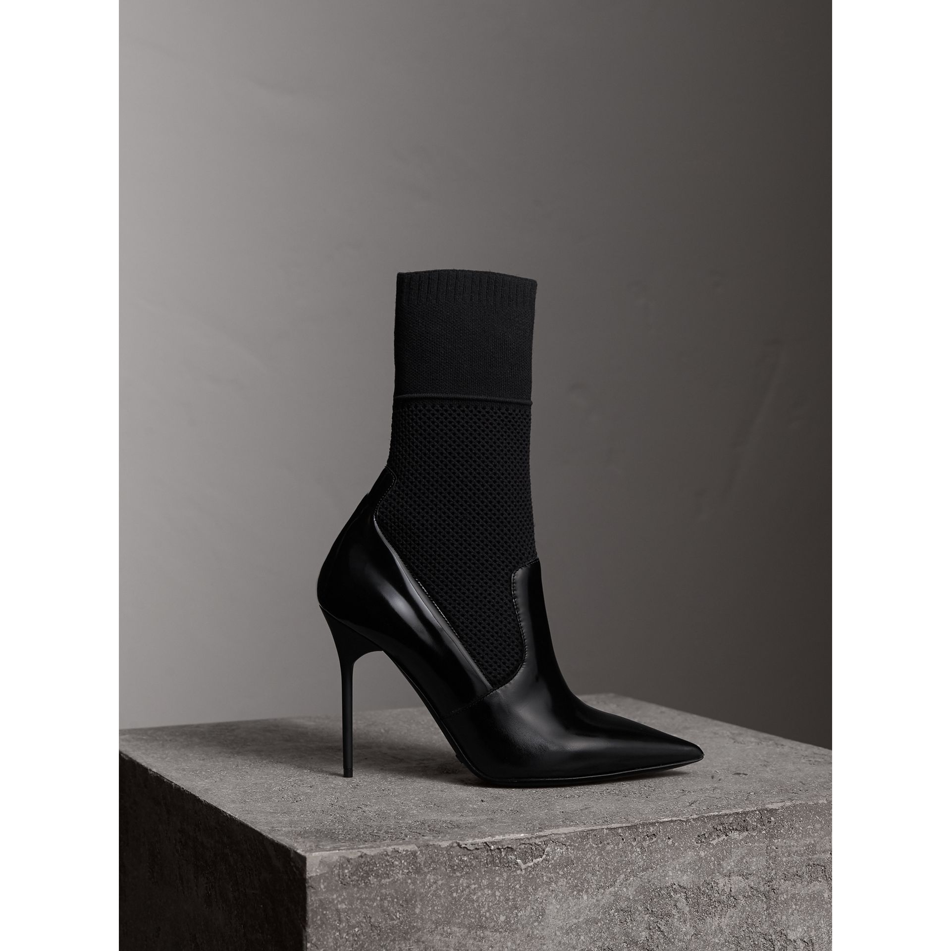 Mid-calf Patent Leather and Knitted Mesh Boots in Black - Women | Burberry - gallery image 1
