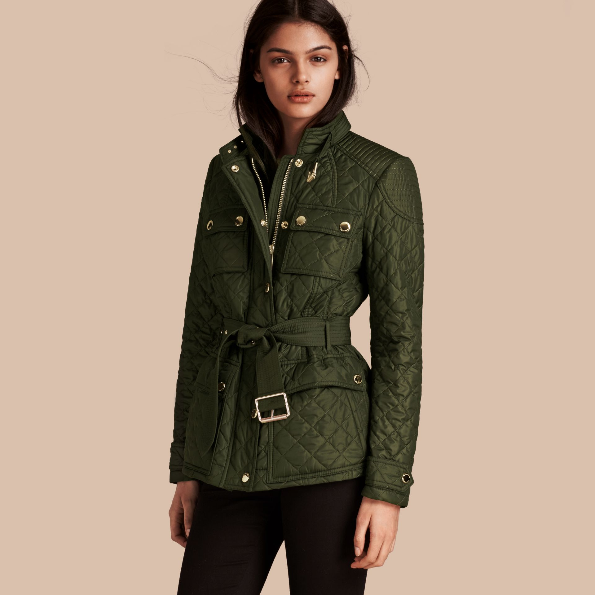 Olive Diamond Quilted Field Jacket with Panel Detail - gallery image 1
