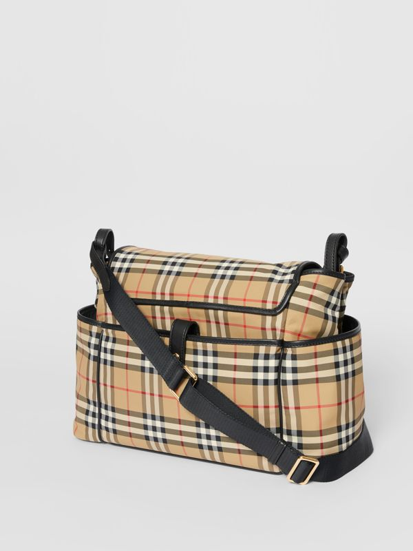 Logo Print Vintage Check Baby Changing Bag in Archive Beige - Children | Burberry - cell image 2