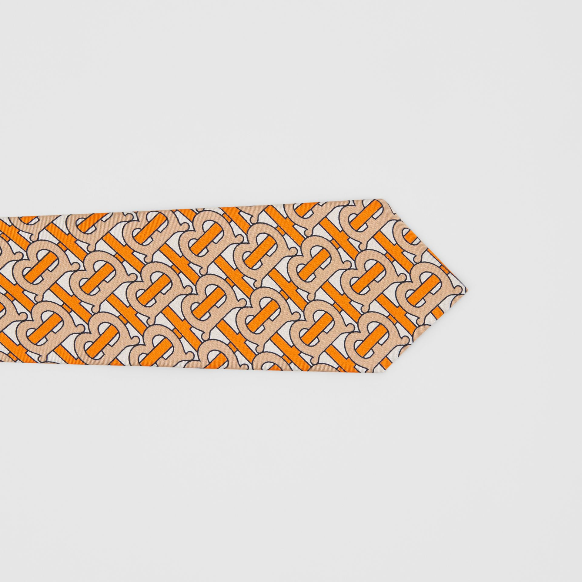 Classic Cut Monogram Print Silk Tie in Bright Orange - Men | Burberry Canada - gallery image 1