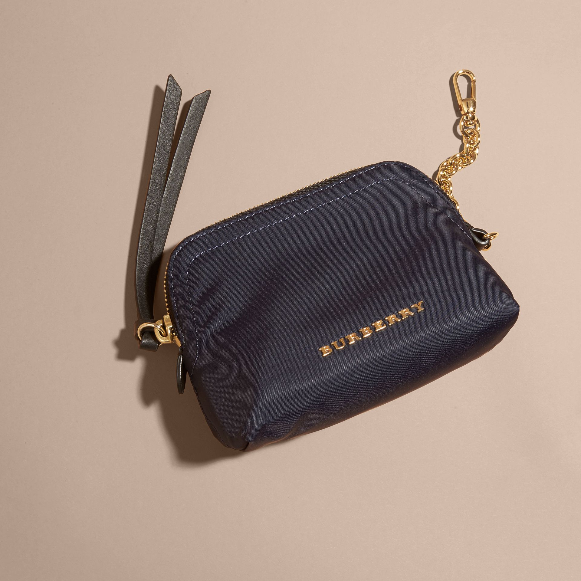 Small Zip-top Technical Nylon Pouch in Ink Blue - gallery image 3