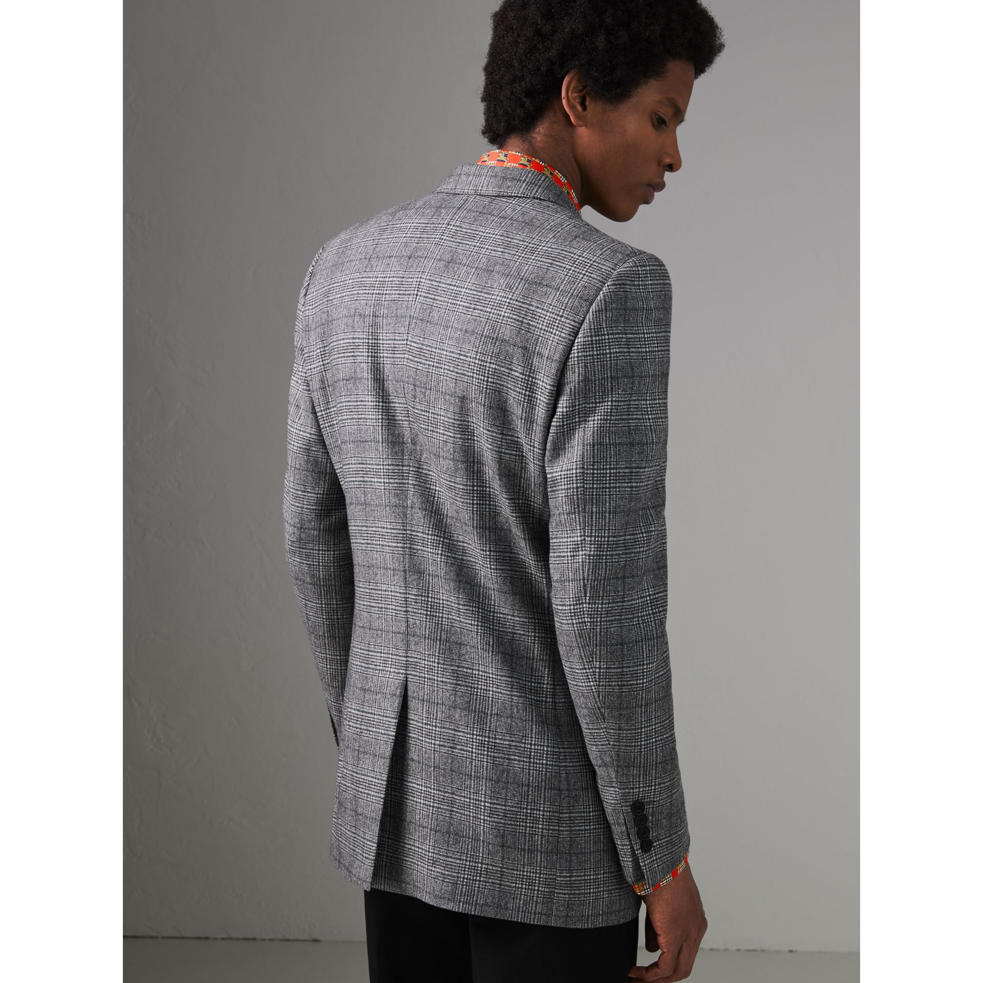 Slim Fit Prince of Wales Check Wool Tailored Jacket in Mid Grey Melange - Men | Burberry United States - gallery image 2