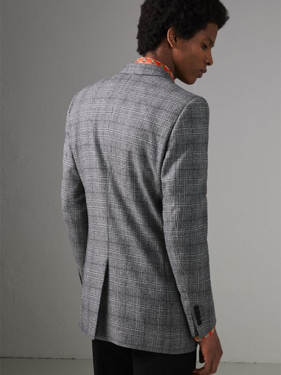 Slim Fit Prince of Wales Check Wool Tailored Jacket in Mid Grey Melange - Men | Burberry - cell image 2