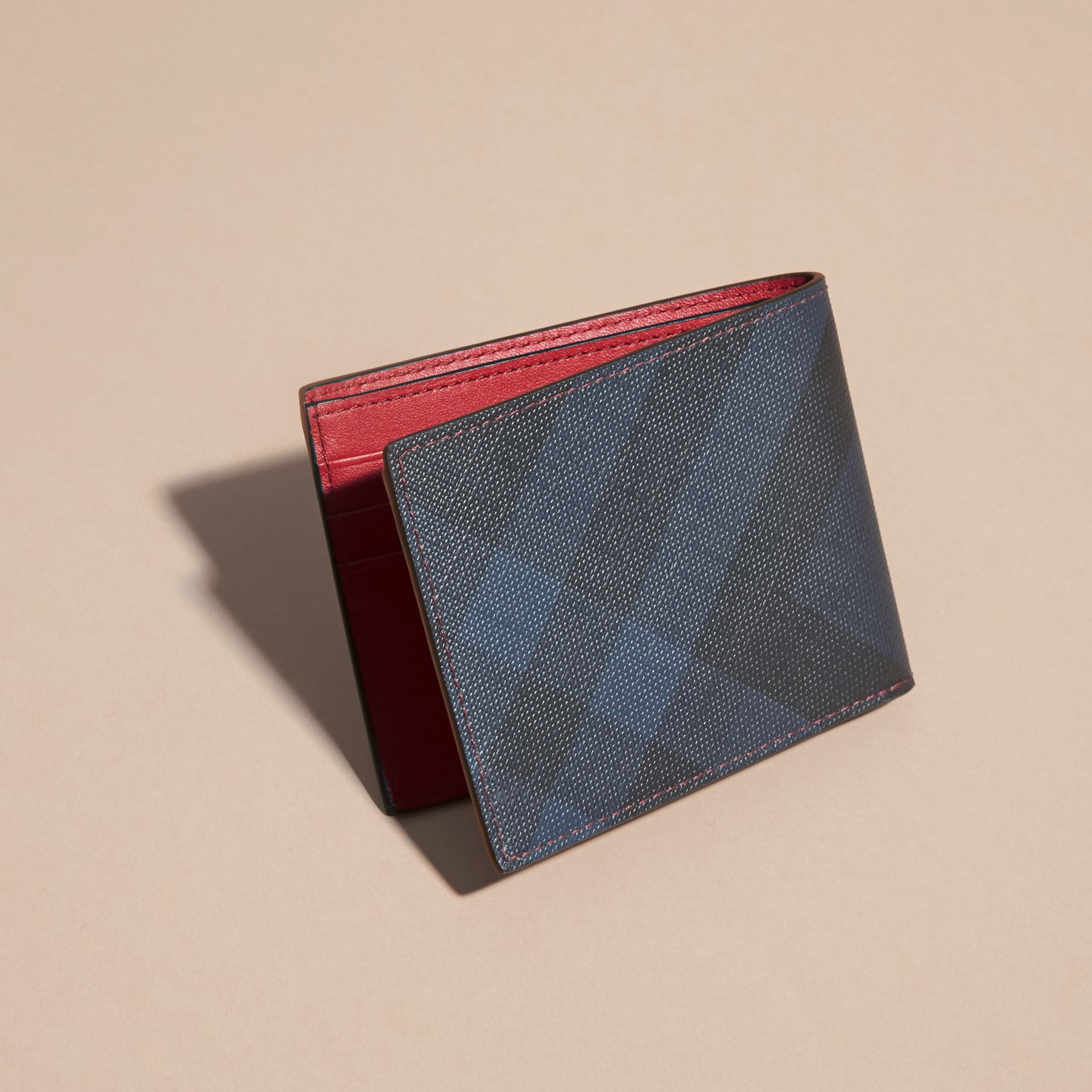 Contrast Trim London Check Folding Wallet Parade Red - gallery image 4