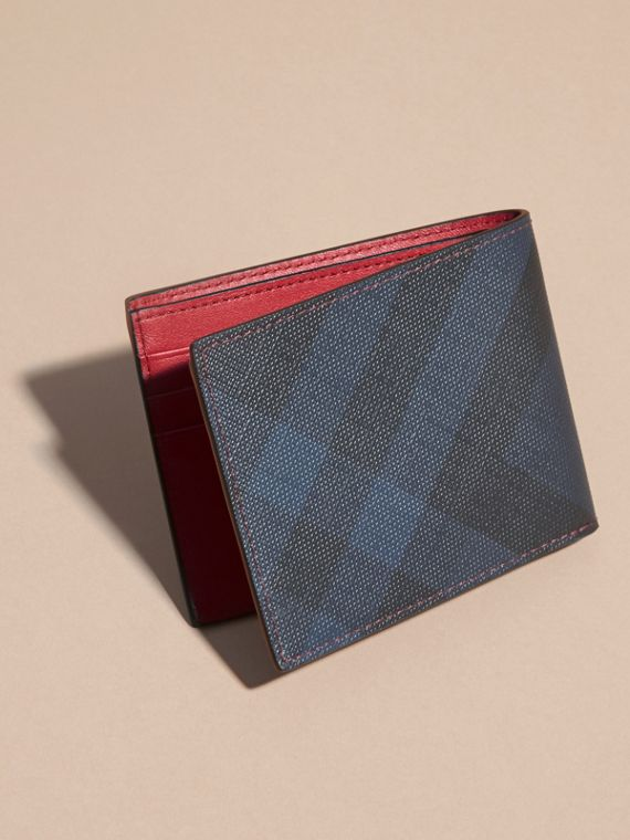 London Check and Leather Bifold Wallet in Parade Red - Men | Burberry - cell image 3
