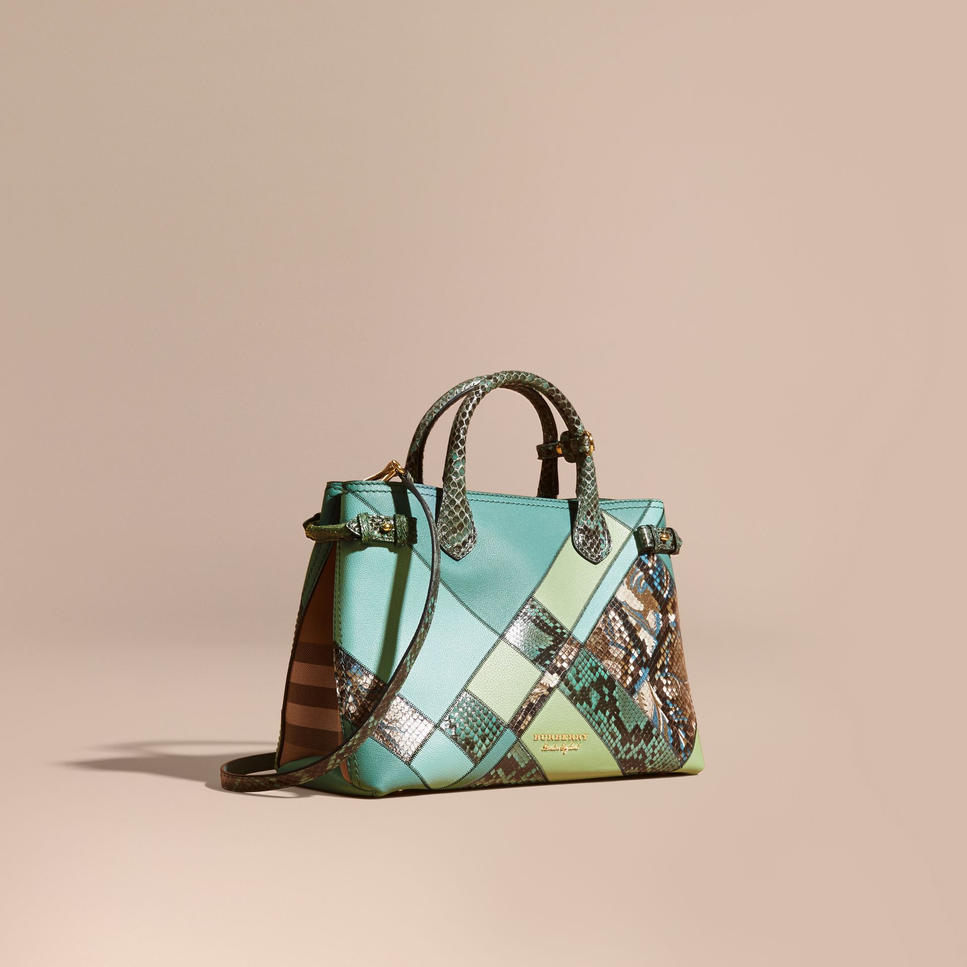 The Medium Banner in Patchwork Leather and Python Celadon Blue - gallery image 1