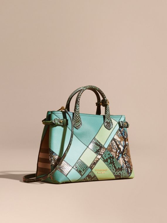 The Medium Banner in Patchwork Leather and Python Celadon Blue