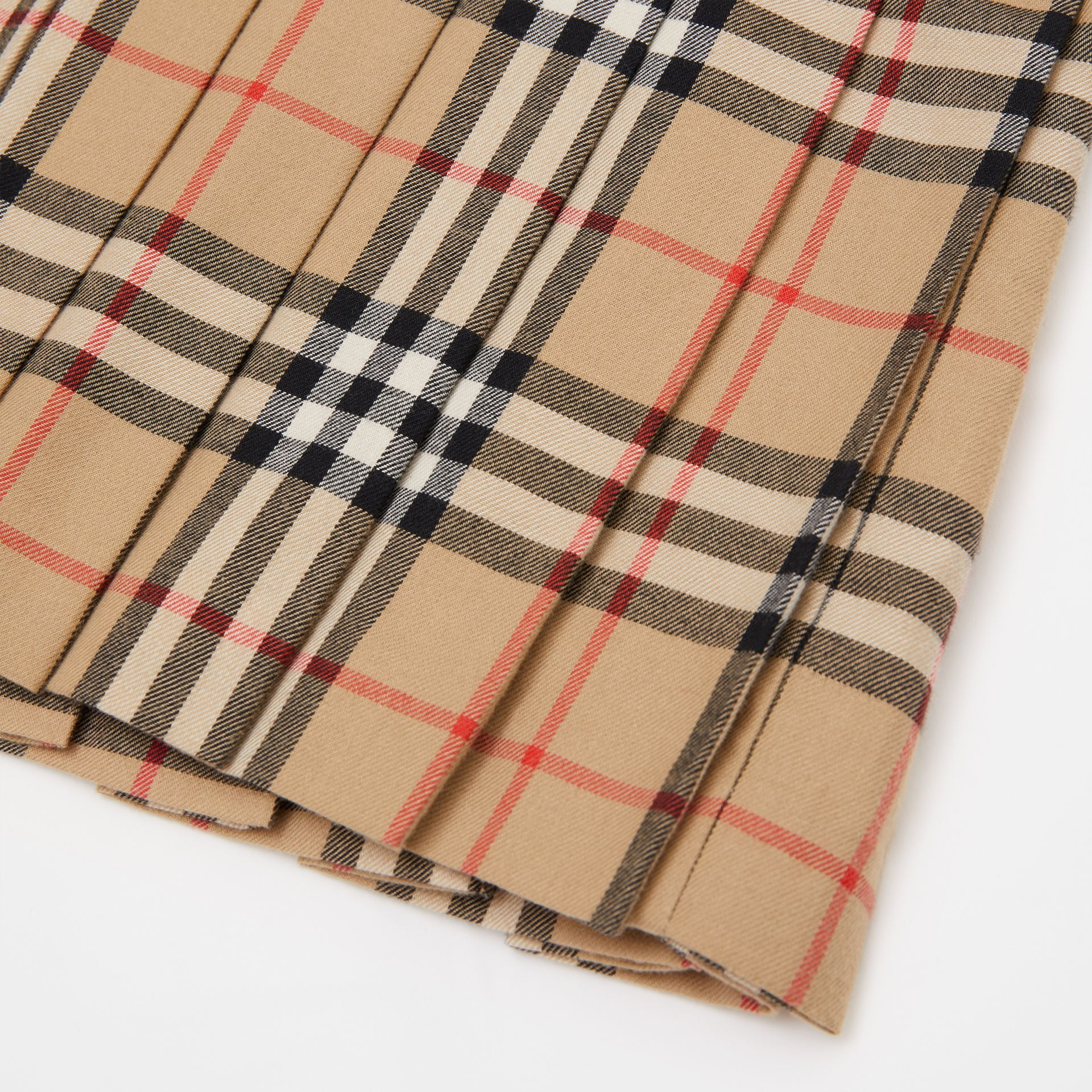 Peter Pan Collar Vintage Check Cotton Dress in Archive Beige | Burberry Singapore - gallery image 1