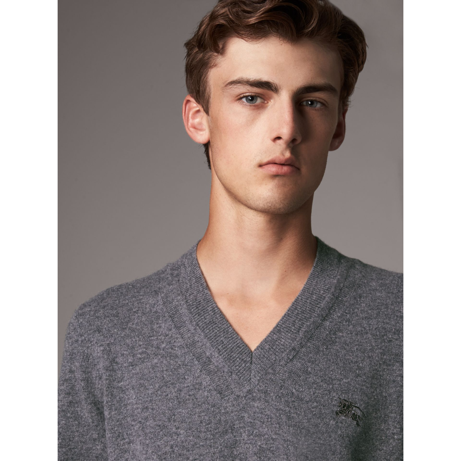 Cashmere V-neck Sweater in Mid Grey Melange - Men | Burberry United Kingdom - gallery image 1
