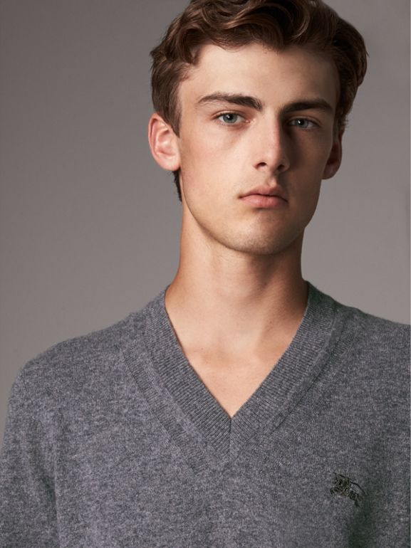 Cashmere V-neck Sweater in Mid Grey Melange - Men | Burberry - cell image 1