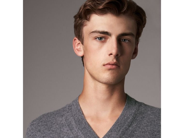 Cashmere V-neck Sweater in Mid Grey Melange - Men | Burberry Singapore - cell image 1