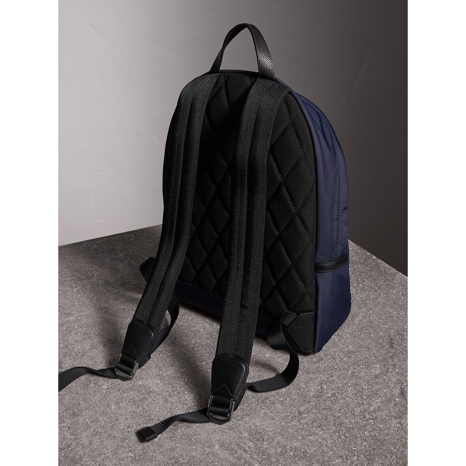 Leather Trim Nylon Backpack in Dark Navy - Men | Burberry United Kingdom - gallery image 4