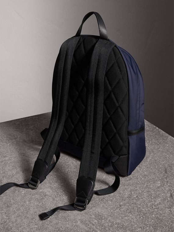 Leather Trim Nylon Backpack in Dark Navy - Men | Burberry United Kingdom - cell image 3