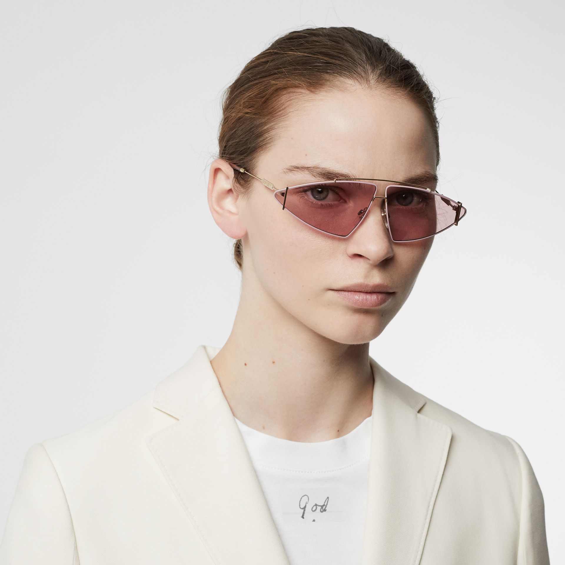 Gold-plated Triangular Frame Sunglasses in Blush Pink - Women | Burberry - gallery image 2