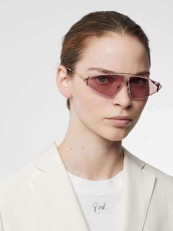 Gold-plated Triangular Frame Sunglasses in Blush Pink - Women | Burberry United Kingdom - cell image 2