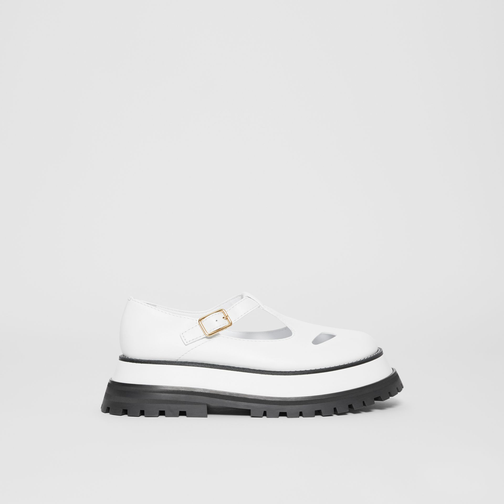 Leather T-bar Shoes in Optic White - Women | Burberry United Kingdom - gallery image 5