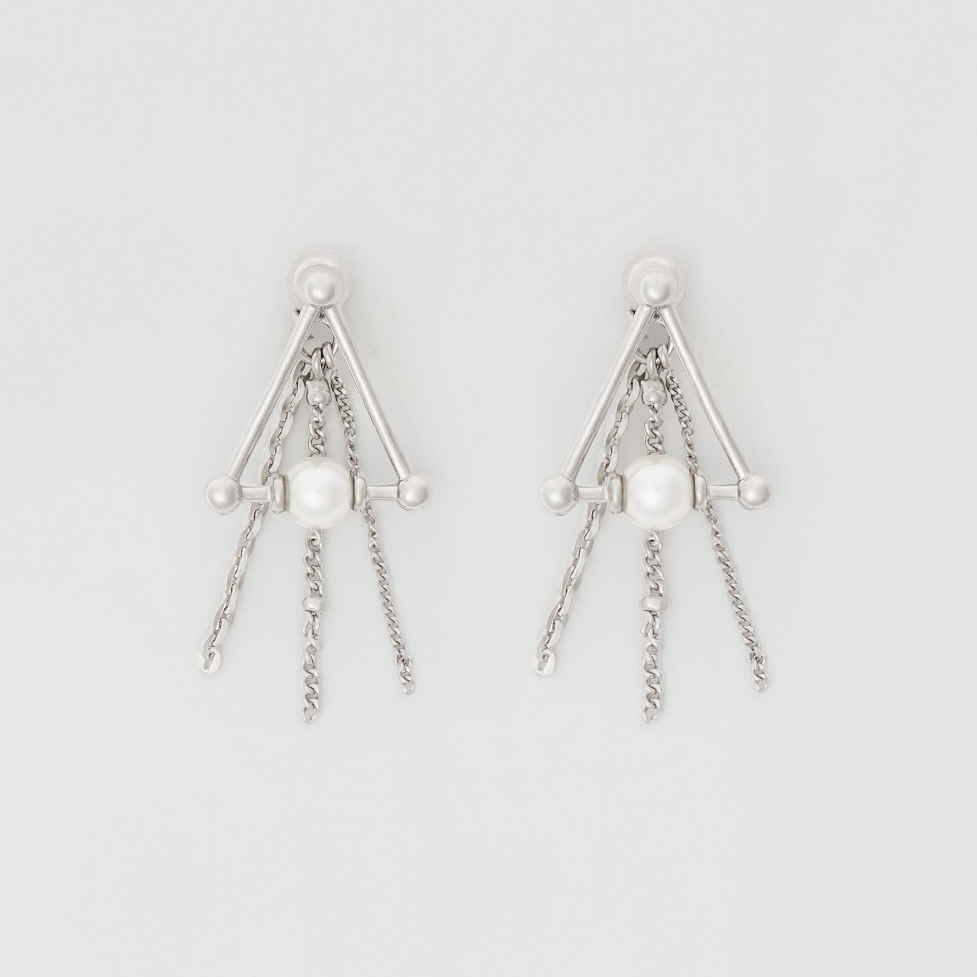 Faux Pearl and Triangle Palladium-plated Drop Earrings in Palladio - Women | Burberry - gallery image 0