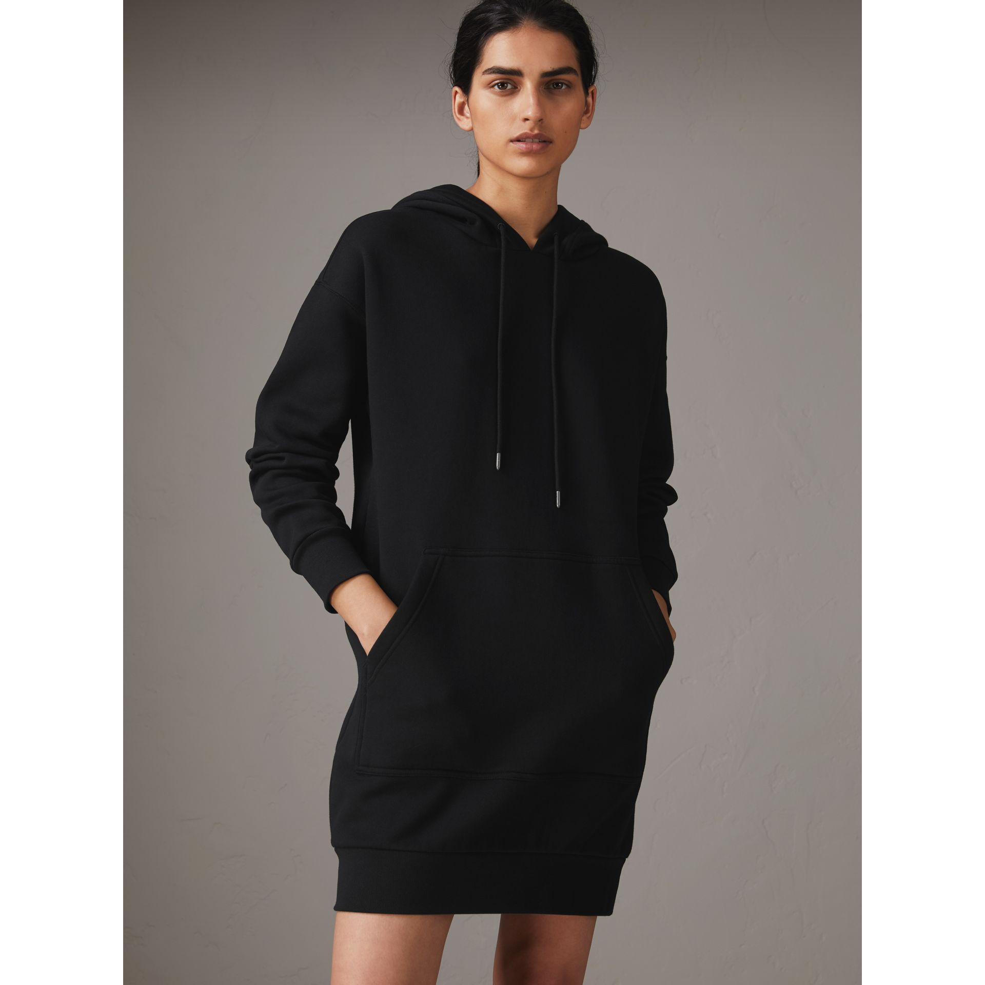 Embroidered Hood Sweatshirt Dress in Black - Women | Burberry United States - gallery image 0