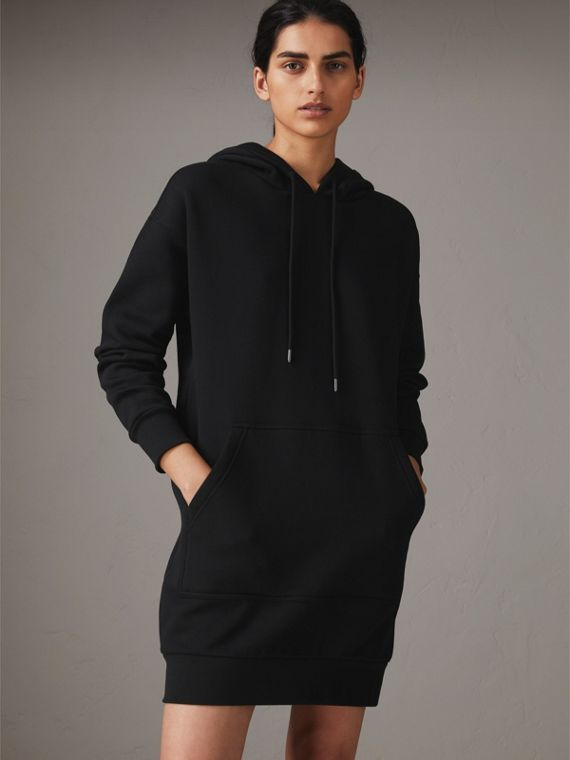 Embroidered Hood Sweatshirt Dress in Black