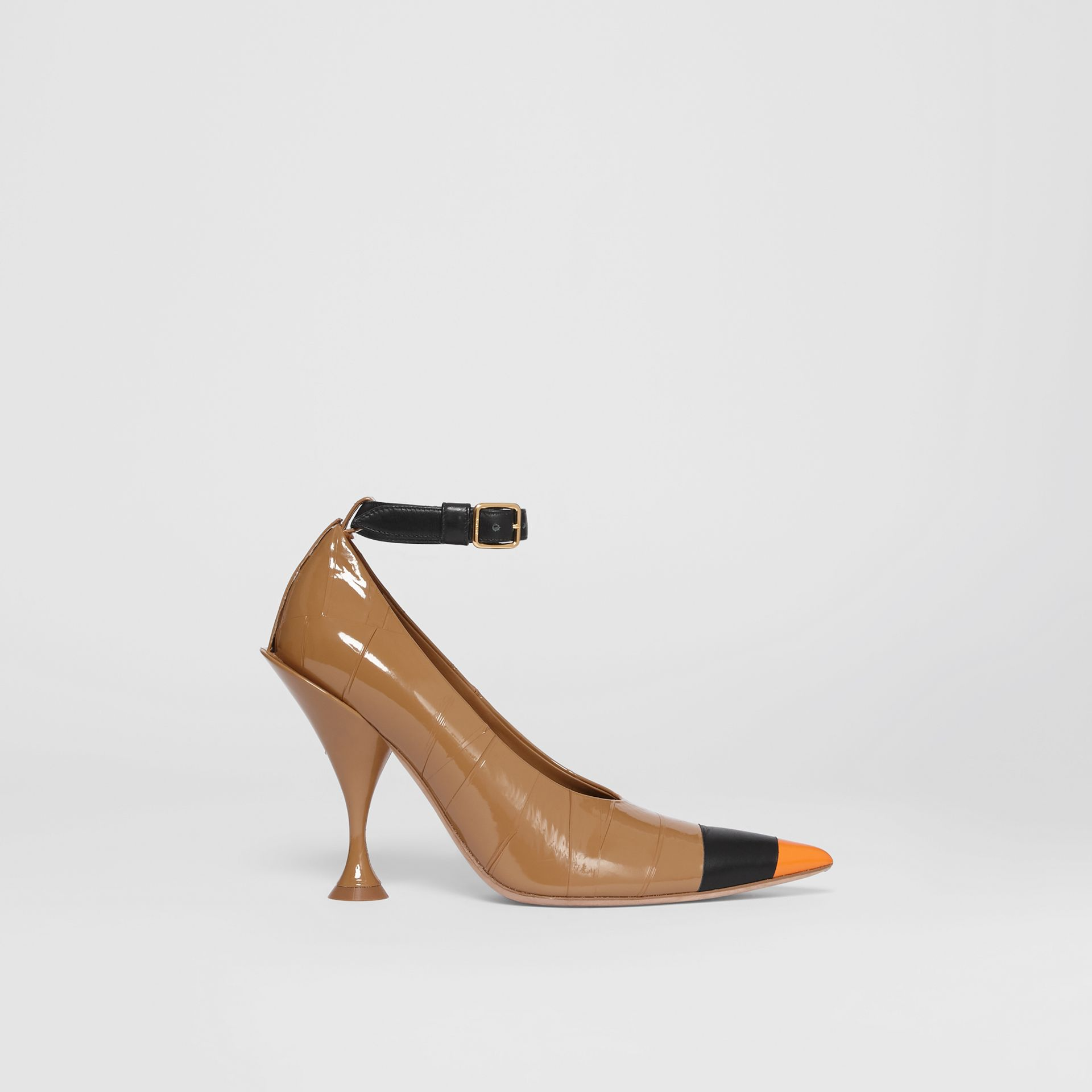 Tape Detail Leather Point-toe Pumps in Brown / Black - Women | Burberry - gallery image 5