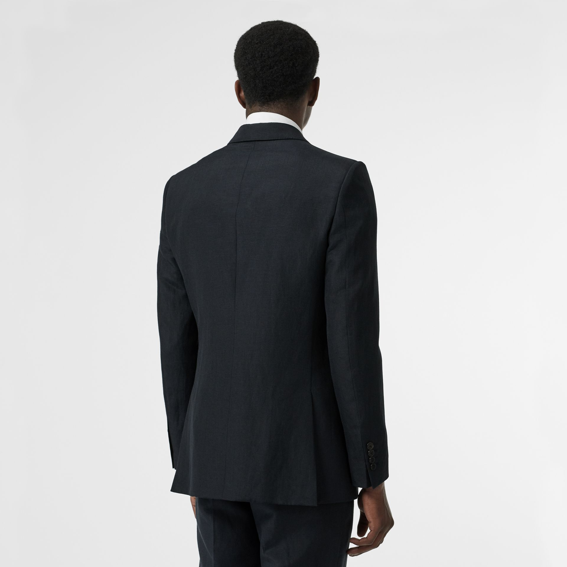Classic Fit Mohair Linen Silk Tailored Jacket in Navy - Men | Burberry Hong Kong S.A.R - gallery image 2