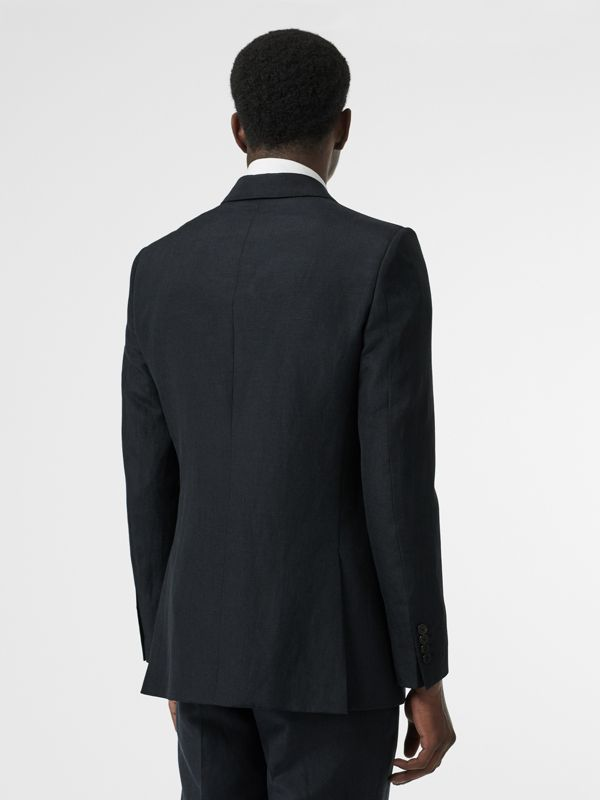 Classic Fit Mohair Linen Silk Tailored Jacket in Navy - Men | Burberry - cell image 2