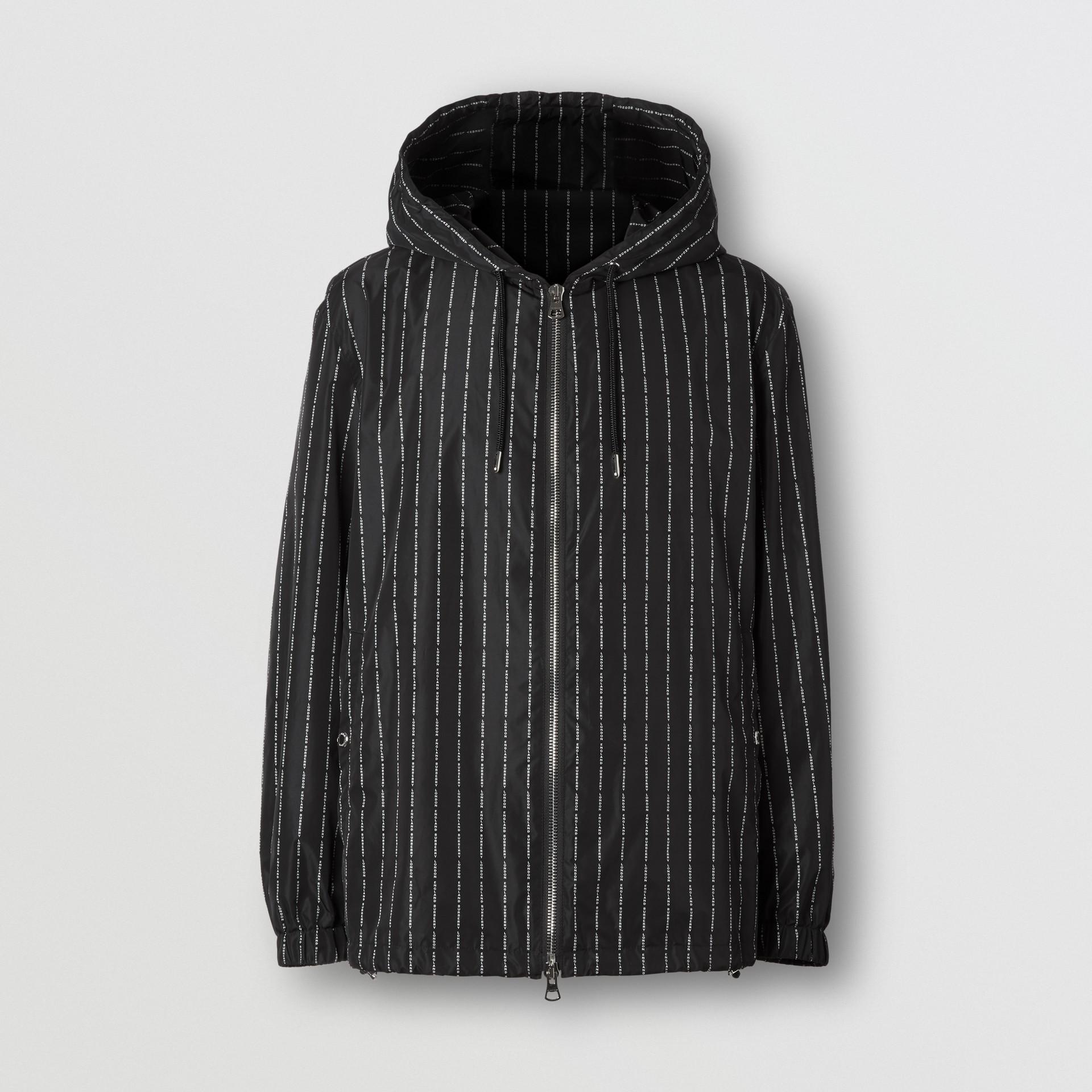 Logo Pinstripe Nylon Hooded Jacket in Black - Men   Burberry United Kingdom - gallery image 3