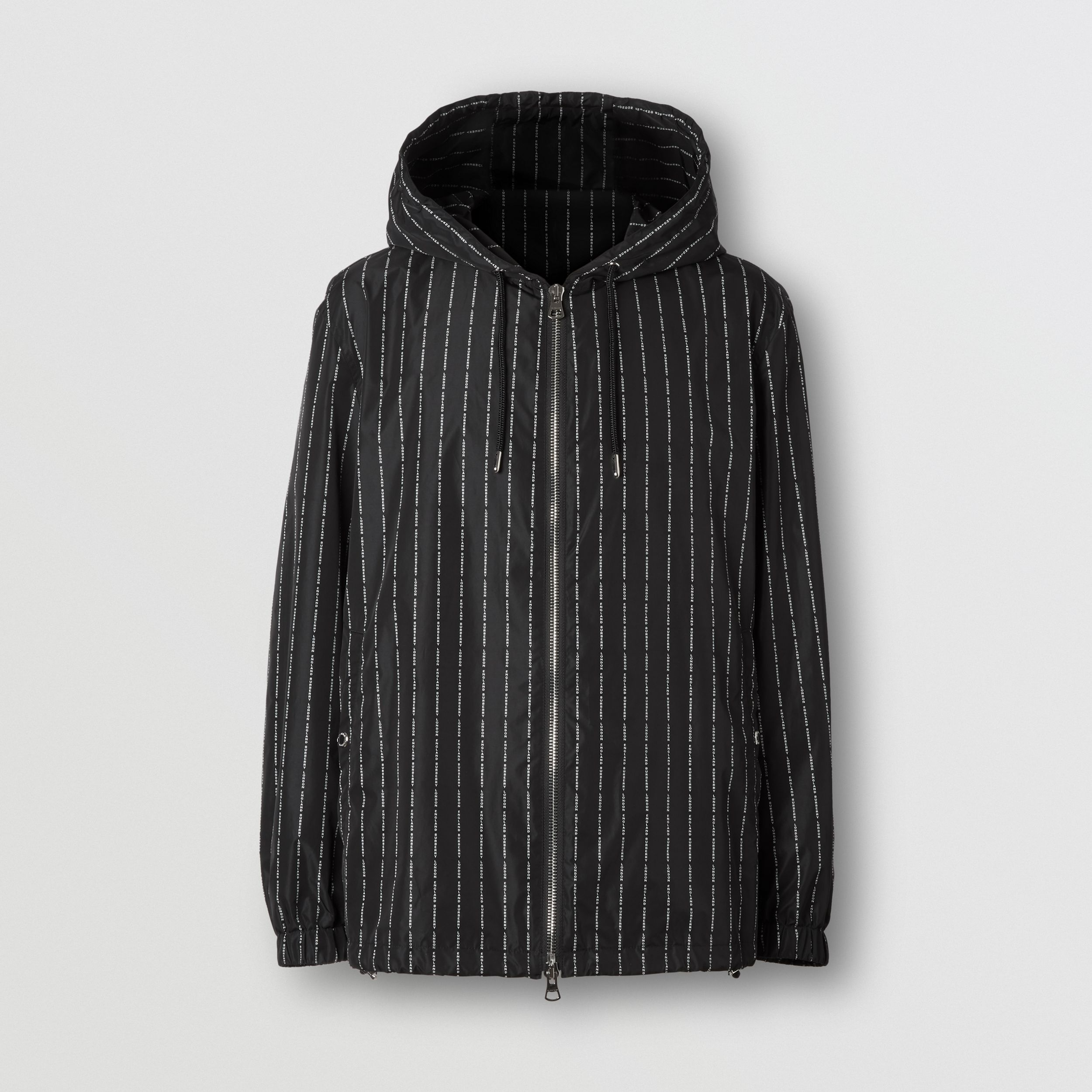 Logo Pinstripe Nylon Hooded Jacket in Black - Men | Burberry Canada - 4