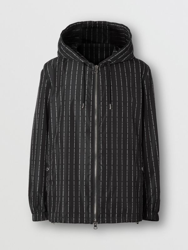 Logo Pinstripe Nylon Hooded Jacket in Black - Men   Burberry United Kingdom - cell image 3