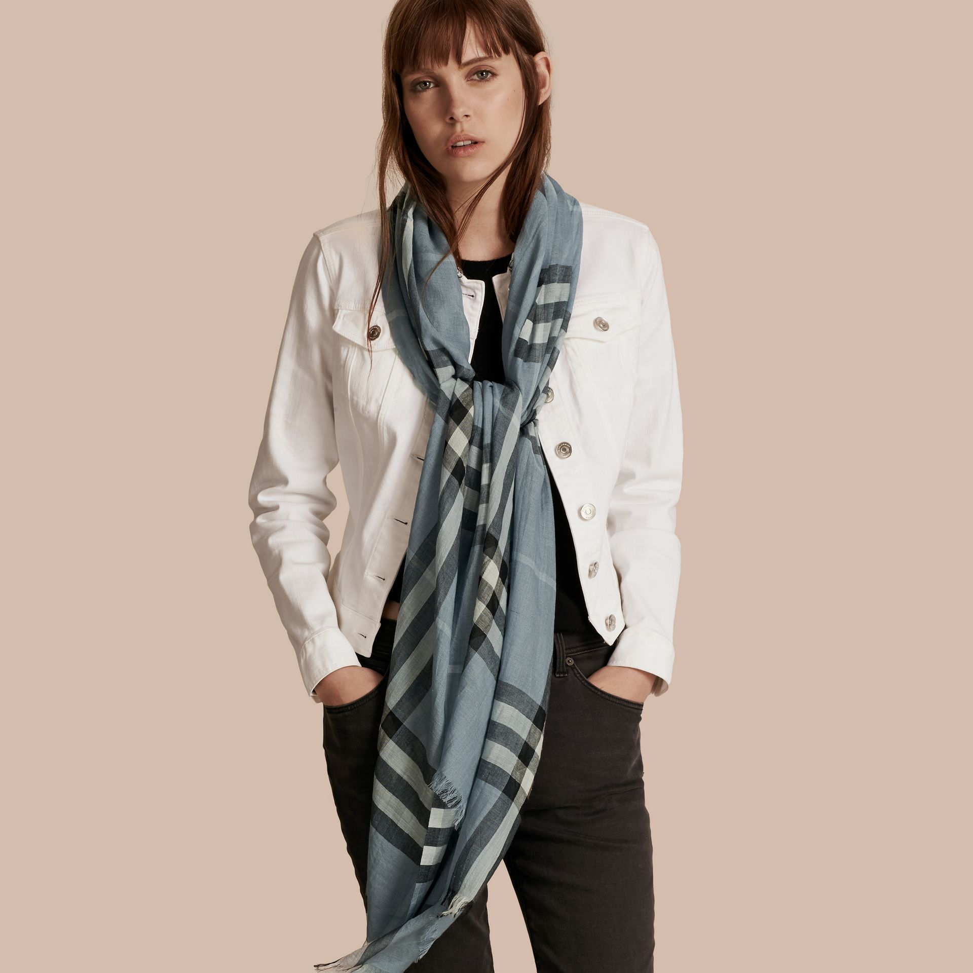Lightweight Check Wool and Silk Scarf Dusty Blue - gallery image 3