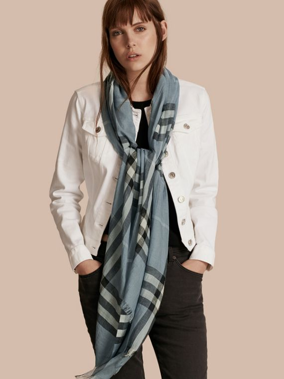 Lightweight Check Wool and Silk Scarf in Dusty Blue - cell image 2